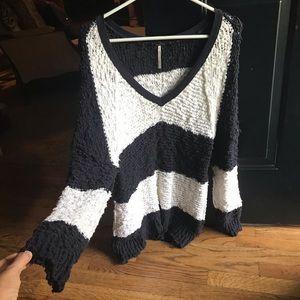 Free People Chunky Sweater B/W Strip Sz Small